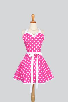 Sweetheart Apron - Retro Sexy Womens Apron Hot Pink and White Polka Dot Cute Full Kitchen Apron