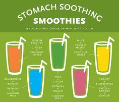 Stomach-soothing smoothies (contain ginger, oatmeal, yogurt)