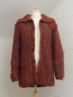 Hand knitted coat with wadded lining