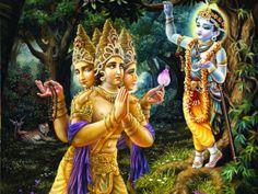 Brahma Prays to Lord Krishna Señor Krishna, Krishna Lila, Bhagavad Gita, Brahma, Lord Krishna Images, India Art, Krishna Wallpaper, Hindu Deities, Indian Gods