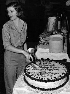 "thescrewballgirl: "" Myrna Loy cutting her birthday cake on the set of Test Pilot (Fleming, 1938) """