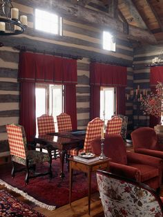 Description: The interiors of this new hunting lodge were created with reclaimed materials and furnishing to evoke a rustic, yet luxurious 18th Century retreat.