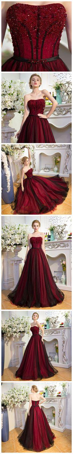 #CHIC #BURGUNDY PROM DRESS A-LINE #BLACK STRAPLESS TULLE BEADING PROM DRESS PARTY DRESS AM973 #amyprom #fashion #love #formaldress #beautifuldress #longpromdress #modest