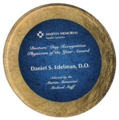 8 1/2 inch Gold/Blue Round Acrylic Art Plaque with Easel - ONLY $60.50  Available at ulekstore.com