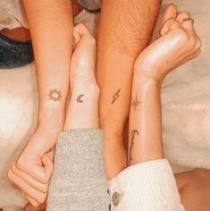 Small Best Friend Tattoos, Friend Tattoos Small, Matching Best Friend Tattoos, Tiny Tattoos For Girls, Small Tattoos For Sisters, Small Matching Tattoos, Siblings Tattoo For 3, Sibling Tattoos, 3 Sister Tattoos