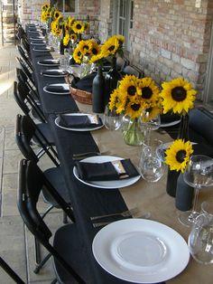 sunflowers, black wine bottles and burlap - My WordPress Website Black Wedding Themes, Yellow Wedding, Rose Wedding, Fall Wedding, Wedding Colors, Rustic Wedding, Dream Wedding, Wedding Ideas, Wedding Inspiration