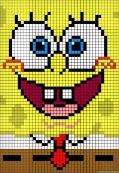 SpongeBob perler bead pattern - turn it into granny square blanket! - SpongeBob perler bead pattern – turn it into granny square blanket! Loom Patterns, Hama Beads Patterns, Beading Patterns, Loom Beading, Beaded Cross Stitch, Cross Stitch Charts, Cross Stitch Embroidery, Cross Stitch Patterns, Embroidery Stitches