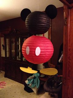 Mickey Mouse made from paper lanterns