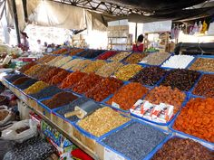 dried fruits at Osh Bazaar Bishkek, Kyrgyzstan - Click for many pictures of the stalls in the market and get a glimpse of the Kyrgyz culture