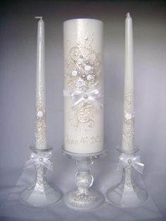 Elegant Wedding unity candle set in white, 3 candles and 3 candleholders, hand decorated wedding candles. Floating Candles Wedding, Candle Wedding Centerpieces, Wedding Ceremony Ideas, Sand Ceremony, Unity Candle Holder, Candle Set, Wedding Gifts, Marie, Elegant Wedding