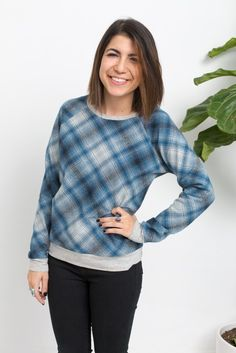 """Linden Sweatshirt"" designed by Grainline Studio. Features Laguna Jersey Heather and Mammoth Flannel."