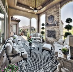 Outdoor living: covered lanai, covered porch, vaulted ceiling, entertainment space, outdoor fireplace