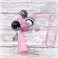 Paris Pink Black Tassel Chunky Ball Chain by TsCrochetedTutus