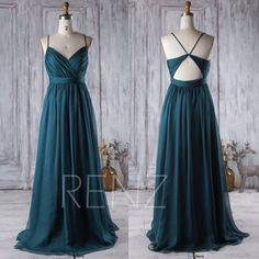 2017 Dark Turquoise Bridesmaid Dress Open Back Wedding Dress
