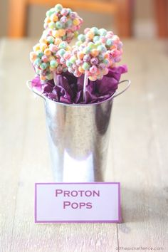 Proton Cake Pops for science party www.atthepicketfence.com