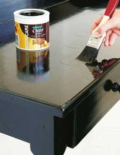 """How to paint a high-gloss table - going to need this to fix my coffee table after it got """"Graysoned"""""""