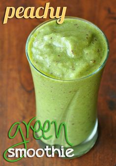 1 super ripe peach [leave the skin on for extra fiber!] 1/2 a large frozen banana 1-2 handfuls of fresh baby spinach 1/4 cup of almond or coconut milk 1 TBSP chia seeds approx 1/2 to 1 cup of ice depending on desired thickness =) a splash of orange juice for sweetness