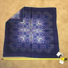 "Echo melting ice paisley silk square scarf. $19.99 @ TJ Maxx 9/16/16. 39"" square."