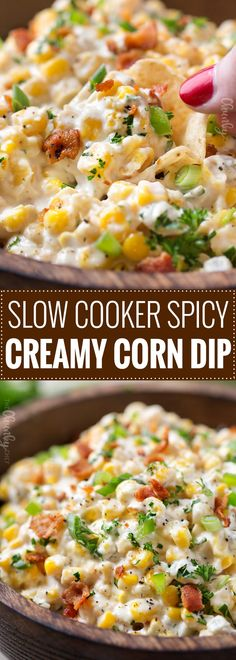 Slow Cooker Spicy Creamy Corn Dip - The Chunky Chef Spicy Corn Dip, Hot Corn Dip, Creamy Corn, Corn Salsa, Slow Cooker Chili, Slow Cooker Recipes, Cooking Recipes, Cooking Games, Slow Cooker Dips
