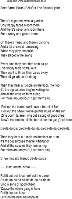 1940s top songs - lyrics for Beer Barrel Polka Roll Out The Barrel - da form