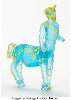 Fine Art - Sculpture, European:Contemporary (1950 to present), After Pablo Picasso (1881-1973). Centaur, 1964. Glass withpigment. 11-1/2 x 13 x 4 inches (29.2 x 33 x 10.2 cm). Etched...