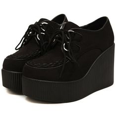 Anna&zero Andrea Women's Punk Wedge Creepers Flats ($27) ❤ liked on Polyvore featuring shoes, flats, punk rock shoes, creeper shoes, wedge flats, creeper and women shoes
