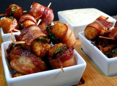 Bacon Jalapeno Wrapped Tater Tots with Jack Cheese Dipping Sauce
