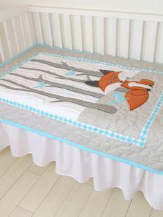 Fox Blanket Fox Nursery Quilt Baby Boy Quilt by Customquiltsbyeva