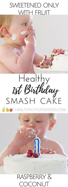 Healthy first birthday smash cake. No refined sugar sweetened only with fruit. Healthy cake gluten free baby cake baby-led weaning birthday ideas via 1st Birthday Foods, Healthy Birthday Cakes, Baby Birthday Cakes, Birthday Desserts, Healthy Cake, Birthday Ideas, Fruit Birthday, Healthy Smash Cakes, Baby's First Birthday