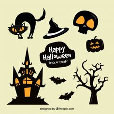 Collection of minimalist halloween stickers in orange and black Free Vector Retro Halloween, Halloween Icons, Halloween Vector, Halloween Drawings, Creepy Halloween, Halloween Themes, Halloween Crafts, Halloween Images, Halloween Borders
