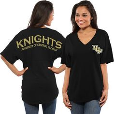 VERY MUCH NEED THIS  UCF Knights Women's Oversized Short Sleeve Spirit Jersey V-Neck Top - Black