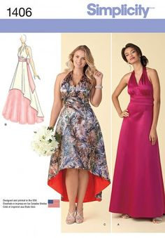 Simplicity Ladies Sewing Pattern 1406 Special Occasion Evening Dresses | Sewing | Patterns | Minerva Crafts