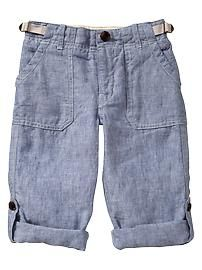 Chambray linen roll-up pants~ Old Navy
