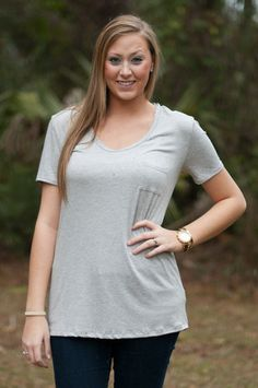 Gray Pocket Tee $22 shop at www.retrodarlingclothes.com or find us on Facebook
