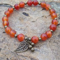 Orange Agate Meditation Stretch Bracelet with Charms - Strength and Bravery by Angelof2, $25.50