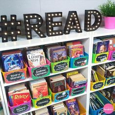 Classroom Tour: A Peek Inside my Grade Classroom Colorful classroom library organization ideas from Lessons with Laughter 5th Grade Classroom, Classroom Setting, Classroom Design, School Classroom, Future Classroom, Classroom Setup, Montessori Classroom, Kindergarten Classroom Organization, Classroom Libraries