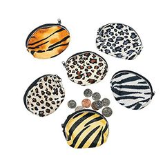 Dress-Up Toy Purses - Fun Express Plush Animal Print Coin Purses 1 Dozen *** Visit the image link more details.