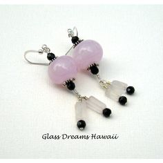 Glass Bead Dangle Earrings, Shell Pink Drop Earrings, Handmade... ($30) ❤ liked on Polyvore featuring jewelry, earrings, earring jewelry, long earrings, glass jewelry, dangle earrings and sterling silver jewelry