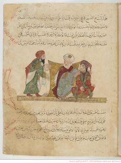 Folio 27 Recto: maqama 10. Abu Zayd, his son and al-Harith