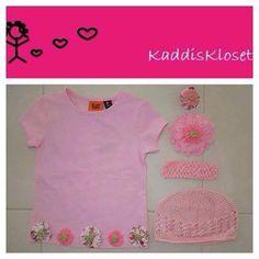 Hand made by Kaddis Kloset Girls size 3 pink spring garden outfit.