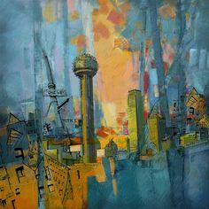 Title: Reunion Tower Artist: Corporate Art Task Force Description: Oil painting of downtown Dallas, Texas.