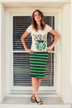 LulaRoe neon green and gray pencil skirt. Dressed down. http://www.lularoe.com