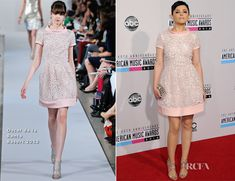 Ginnifer Goodwin donned pink on the red carpet at the 2012 American Music Awards, held at the Nokia Theatre in L.A., wearing this Oscar de la Renta Resort 2013 cocktail dress.