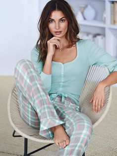 NEW! The Dreamer Henley Pajama: aqua/ pink plaid (1 of 2)