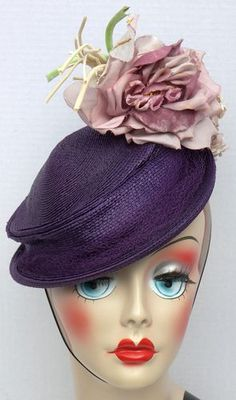 Vtg Antq Wanamaker 1920s 1930s Purple Straw Braid Tilt Church Hat w Chin Band | eBay