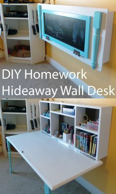 DIY Organizing Ideas for Kids Rooms - DIY Kids Homework Hideaway Wall Desk - Easy Storage Projects for Boy and Girl Room - Step by Step Tutorials to Get Toys, Books, Baby Gear, Games and Clothes Organized - Quick and Cheap Shelving, Tables, Toy Boxes, Closet Tips, Bookcases and Dressers - DIY Projects and Crafts http://diyjoy.com/diy-organizing-ideas-kids-rooms