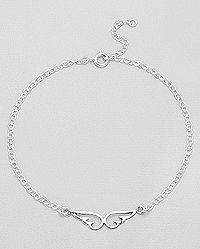 925 sterling silver angle wings anklet