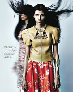 South Asian fashion photography. yellow red and white.