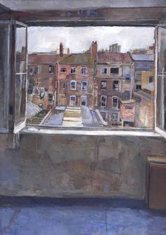 Anthony Eyton, 'Open Window, Spitalfields' (see portrait! Open Window, Window Art, Painting Courses, A Level Art, Windows, Urban Landscape, Painting Inspiration, Painting & Drawing, Landscape Paintings