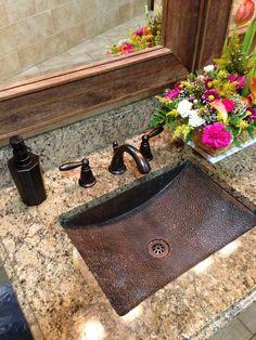 Bathroom remodeling. Copper sink